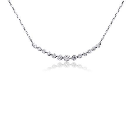 Collar curvo de diamantes en oro blanco de 18 k