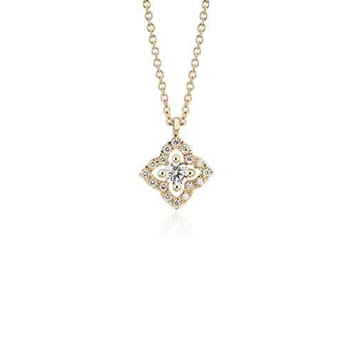 petite diamond floral pendant in 14k yellow gold 16 ct