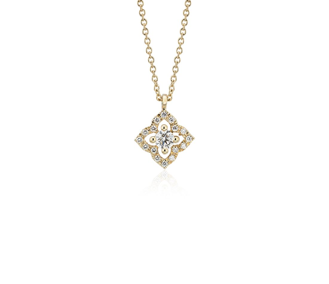 Petite Diamond Floral Pendant in 14k Yellow Gold (2.8mm)