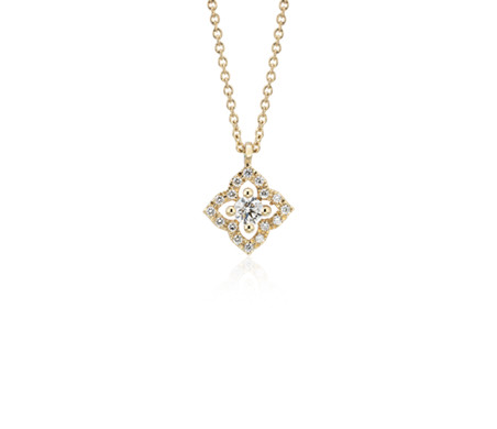 Petite Diamond Floral Pendant in 14k Yellow Gold