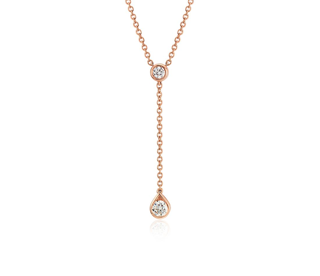 pendentif goutte diamant en or rose 14 carats (1/4 ct. pt.)