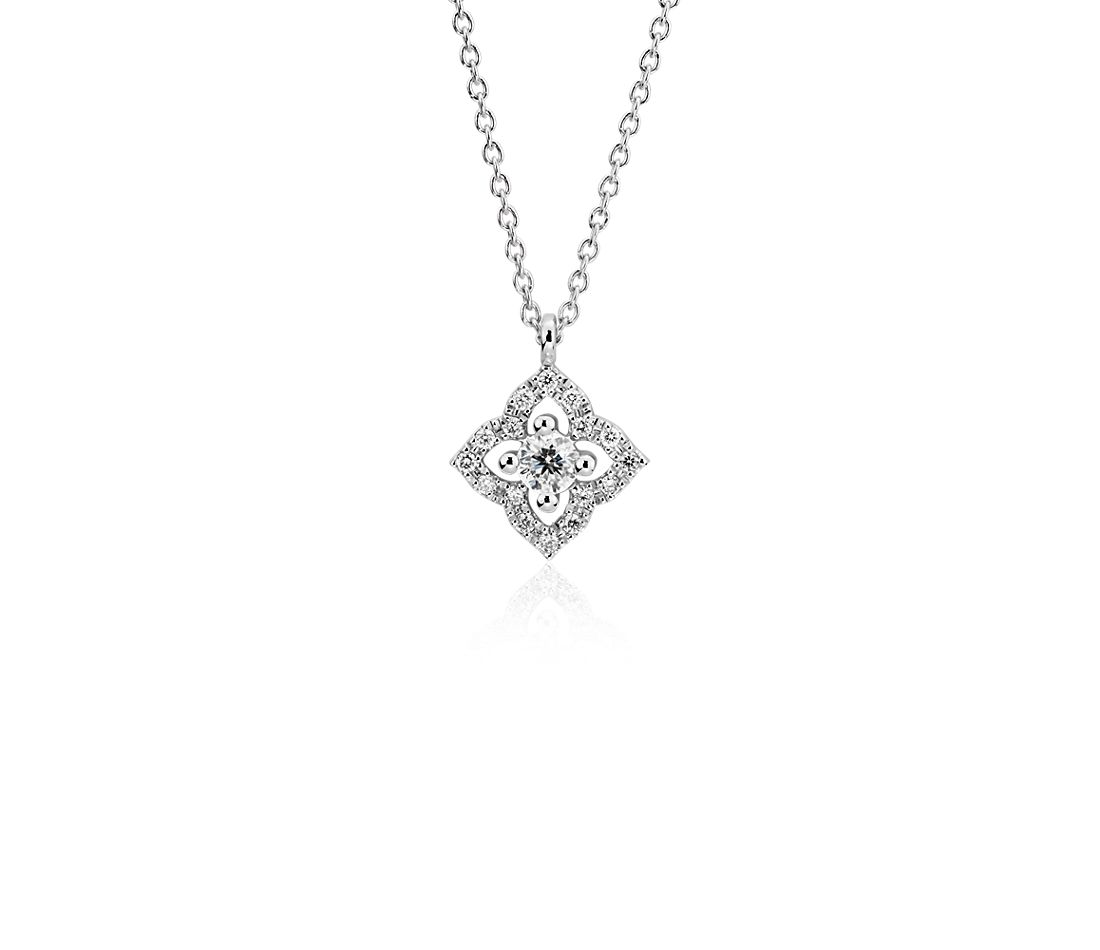 Petite Diamond Floral Pendant in 14k White Gold