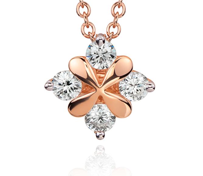 Pendentif diamant pétale de rose Blue Nile Studio en or rose 18carats (1/3carat, poids total)