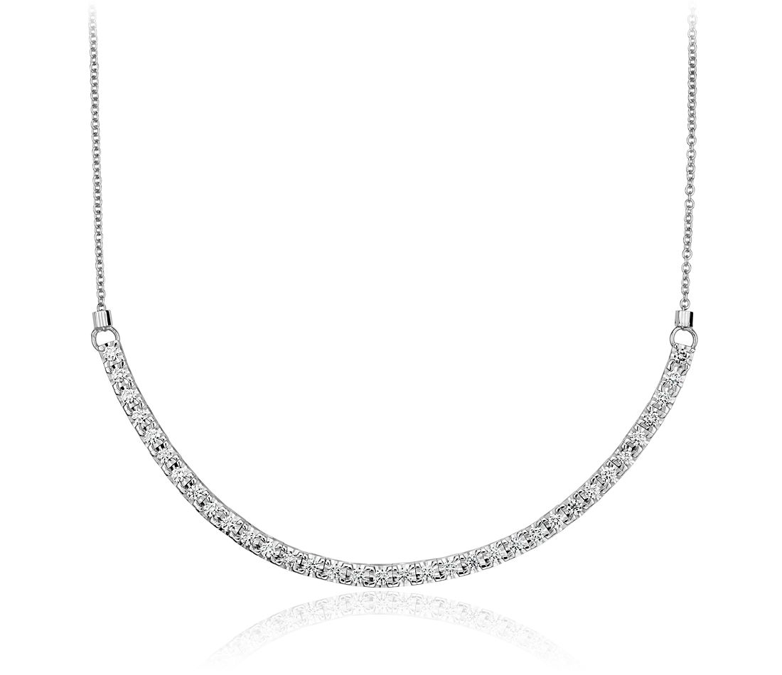 curved diamond necklace in 18k white gold 45 ct tw