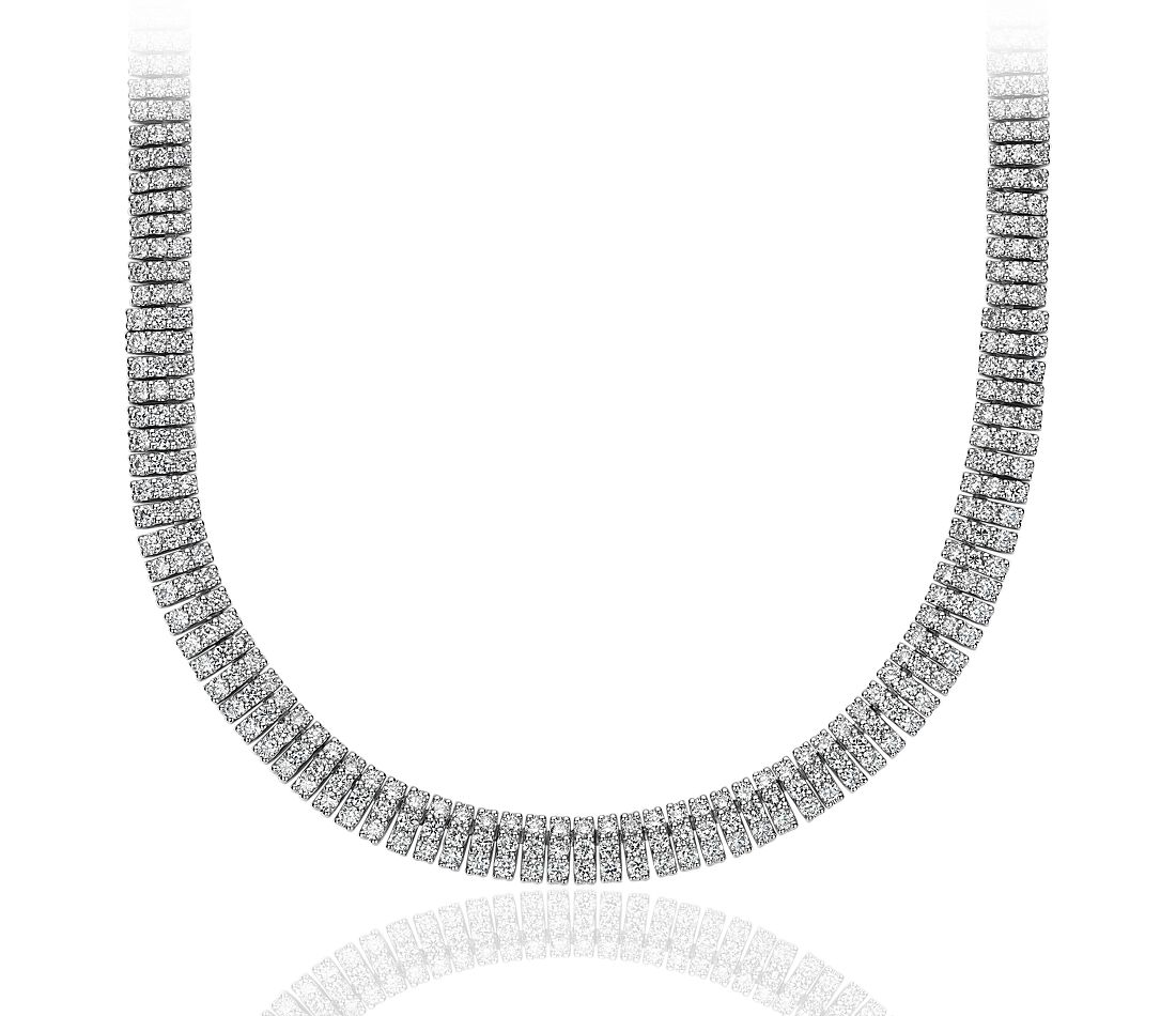 Collier éternité diamant en or blanc 18 carats (10,84 ct, poids total)