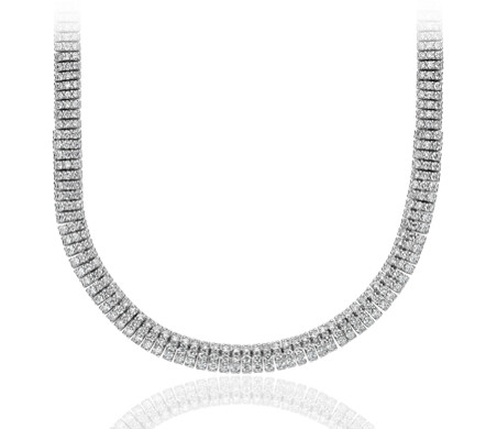 Collar de eternidad de diamante en oro blanco de 18 k (10,84 qt. total)
