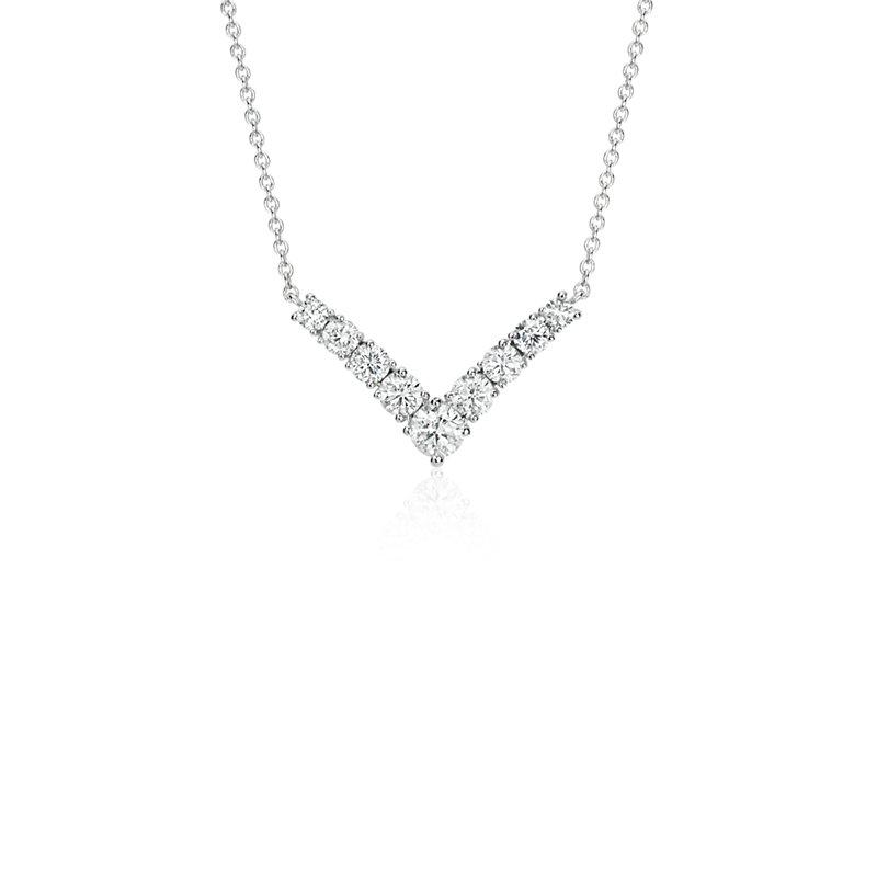 "Diamond ""V"" Bar Necklace in 14k White Gold (1/2 ct. tw.)"