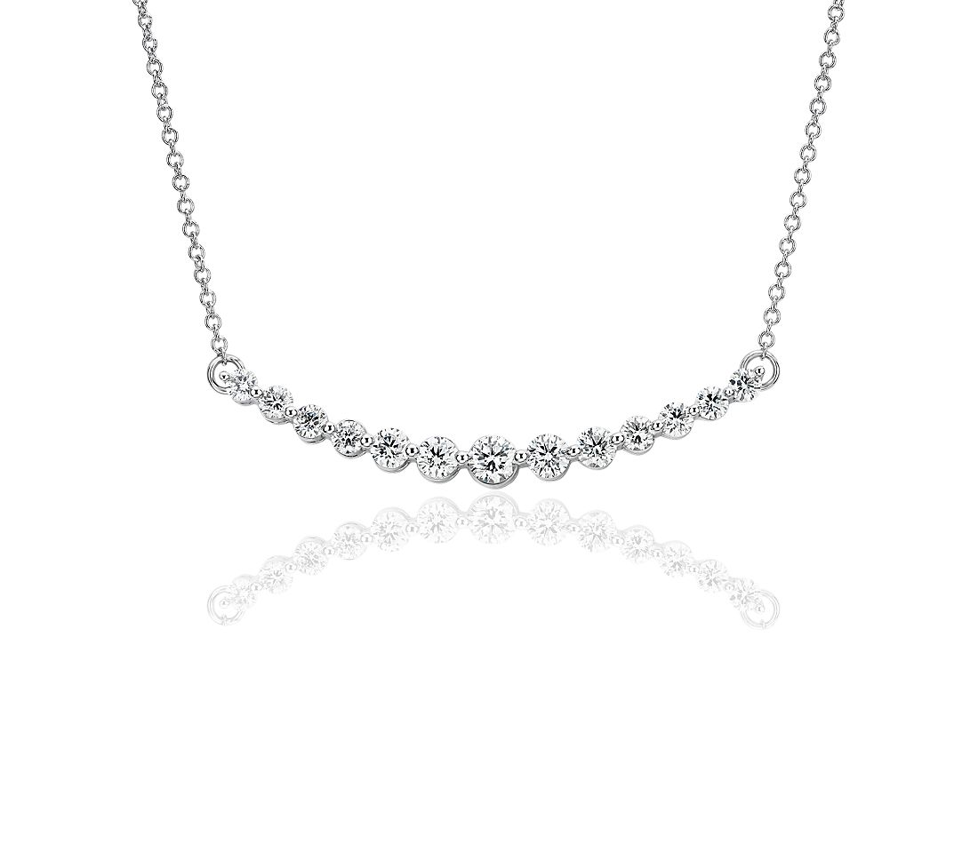 Curved Diamond Bar Necklace in 18k White Gold (1 ct. tw.)
