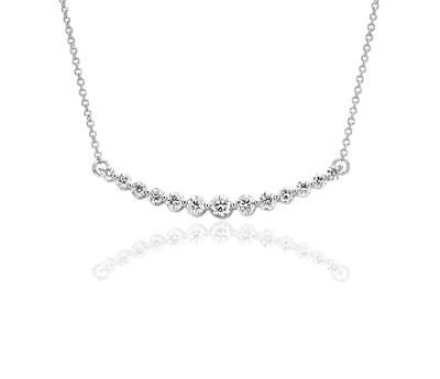 Curved Diamond Bar Necklace