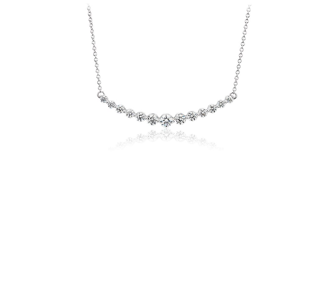 Diamond Curved Bar Necklace in 18k White Gold (2 ct. tw.)