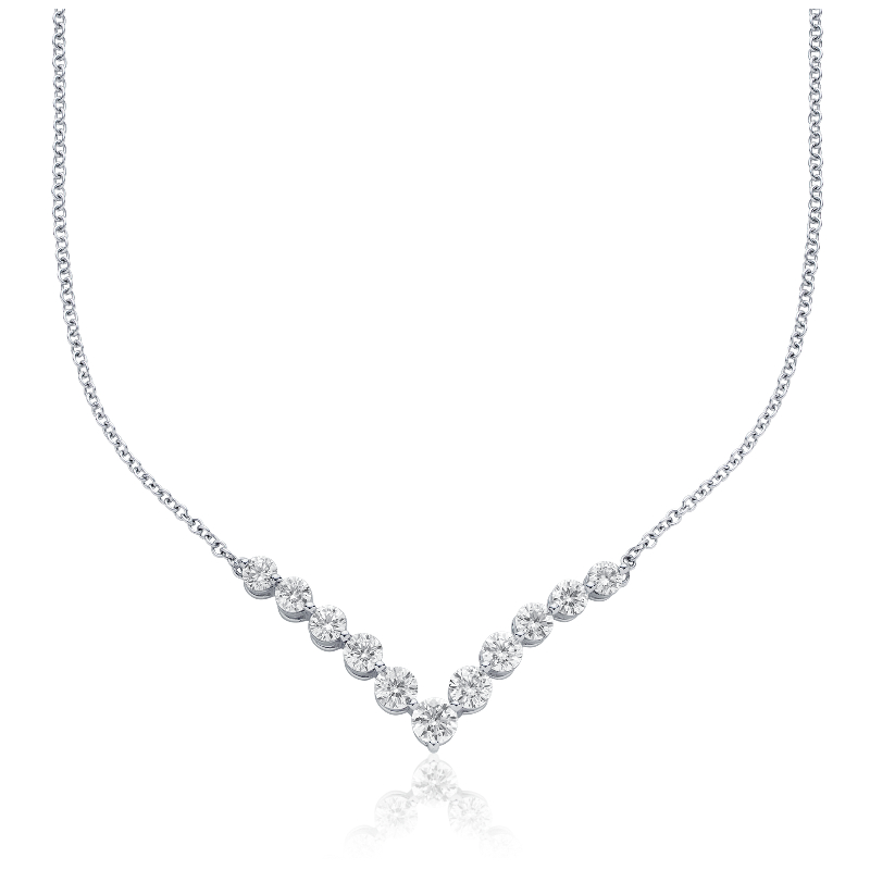 "Diamond ""V"" Bar Necklace in 18k White Gold (2 ct. tw.)"