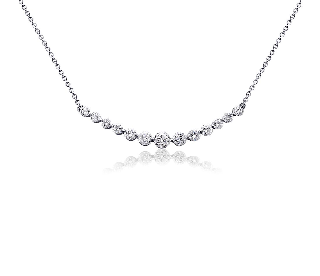 Curved Diamond Necklace in 18k White Gold (1 ct. tw.)