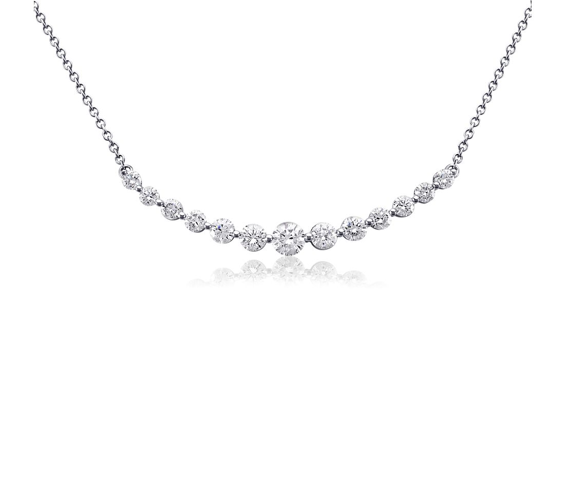 diamond curved bar necklace in 18k white gold 2 ct tw