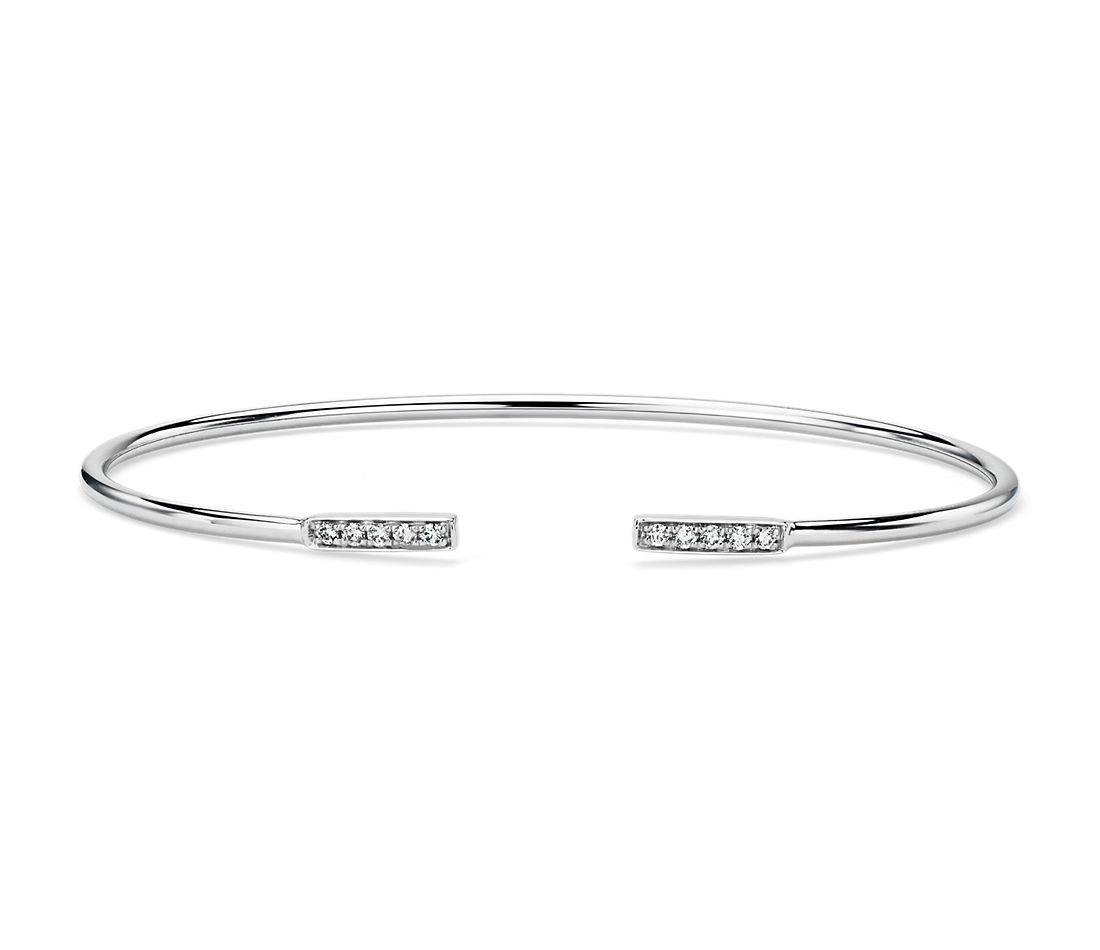 Diamond Open Bar Flex Bangle in 14k White Gold (1/8 ct. tw.)