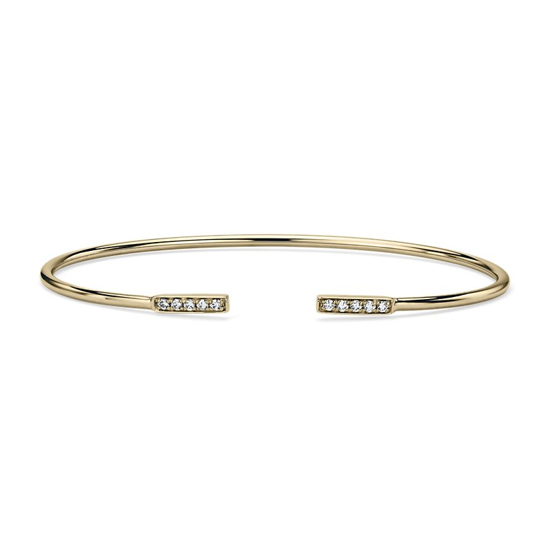Diamond Open Bar Flex Bangle in 14k Yellow Gold (1/8 ct. tw.)