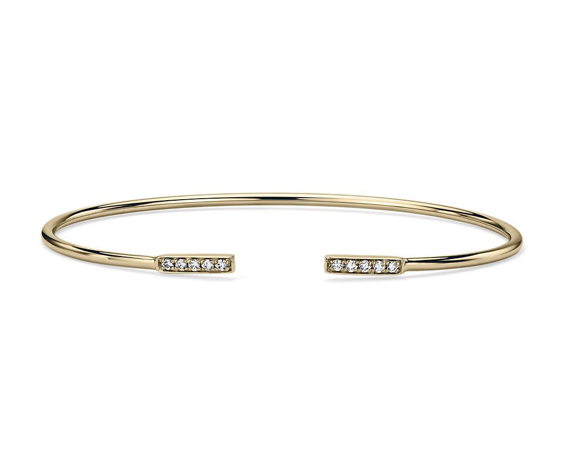 Bracelet jonc souple barre ouverte avec diamants en or jaune 14carats (1/8carat, poids total)