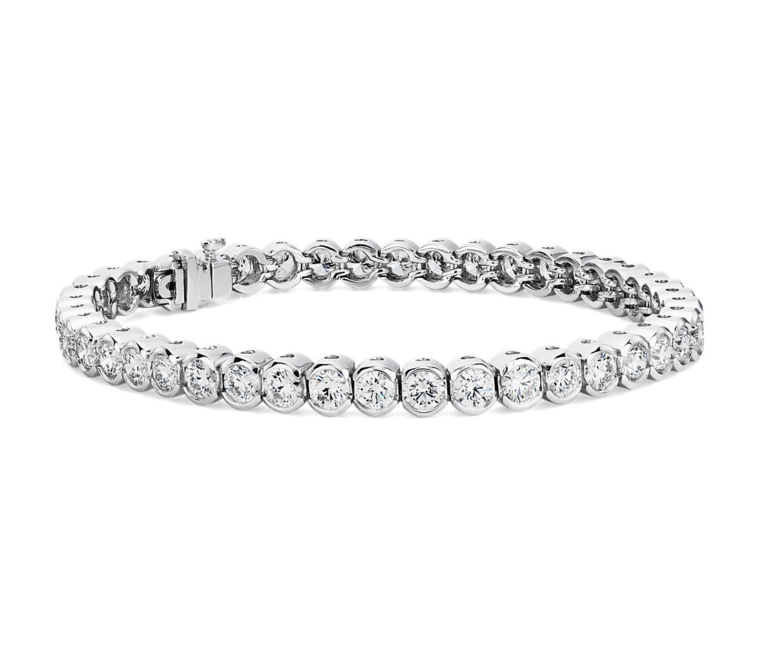 Diamond Open Bezel Line Bracelet In 18k White Gold 8 Ct