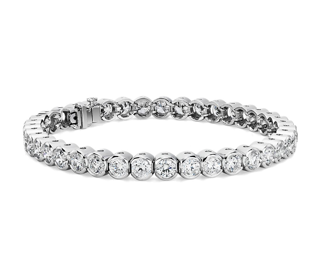Diamond Open Bezel Line Bracelet in 18k White Gold (10 ct. tw.)