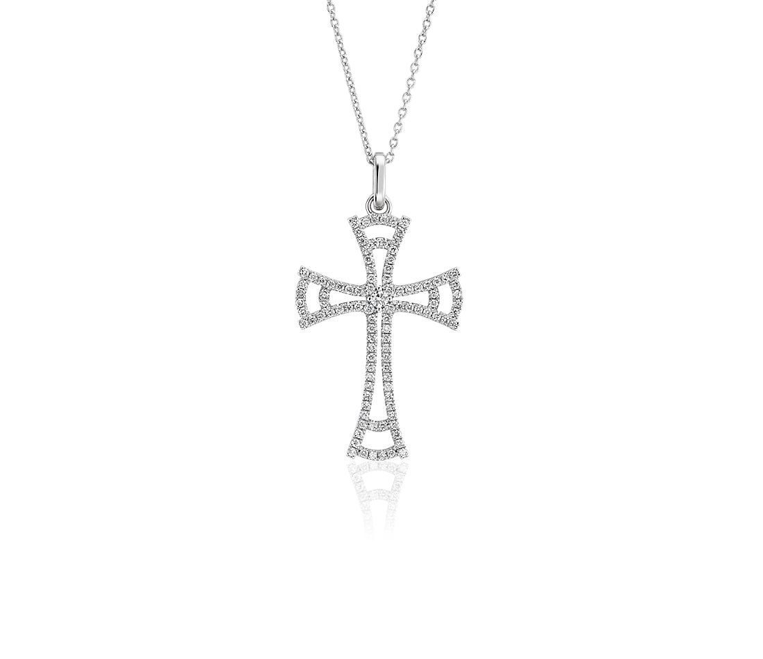 Diamond Open Cross Pendant in 14k White Gold (1/3 ct. tw.)