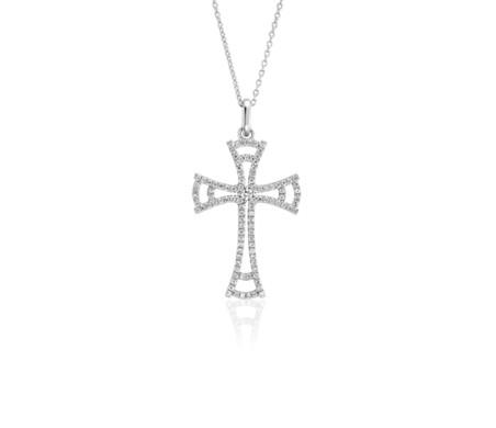 Pendentif croix ouverte en diamants en or blanc 14carats (1/3carat, poids total)