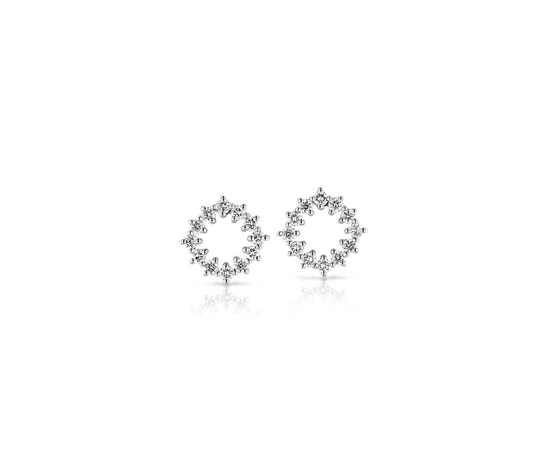 Diamond Open Cushion-shaped Pavé Stud Earrings in 14k White Gold (1/4 ct. tw.)