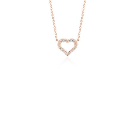 Blue Nile Mini Diamond Heart Necklace in 14k Yellow Gold (1/10 ct. tw.)