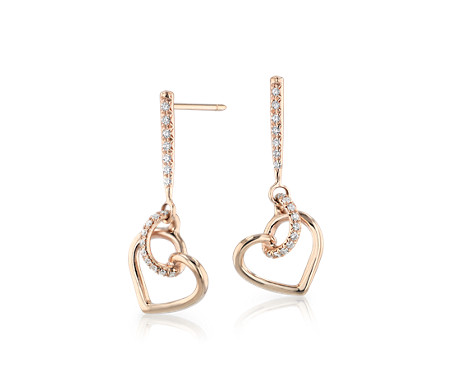 Diamond Twist Heart Pavé Drop Earrings in 14k Rose Gold (1/5 ct. tw.)