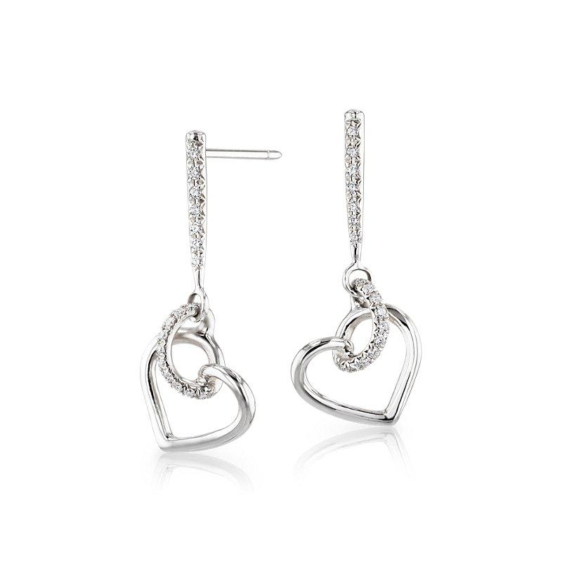 Diamond Twist Heart Pavé Drop Earrings in 14k White Gold (