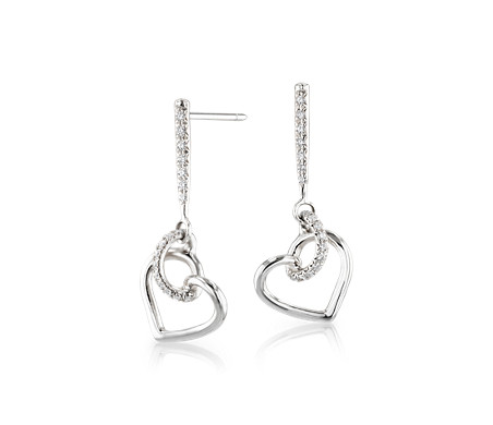 Diamond Twist Heart Pavé Drop Earrings in 14k White Gold (1/5 ct. tw.)