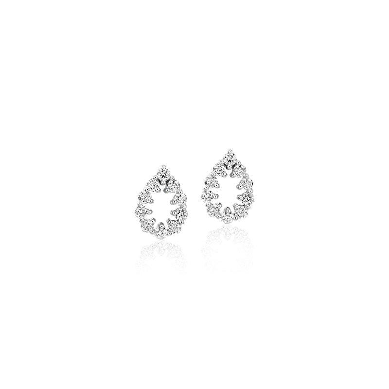 Diamond Open Pear Shape Pavé Stud Earrings in 14k White Go