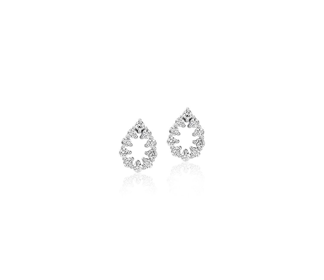 Diamond Open Pear Shape Pavé Stud Earrings in 14k White Gold (1/4 ct. tw.)