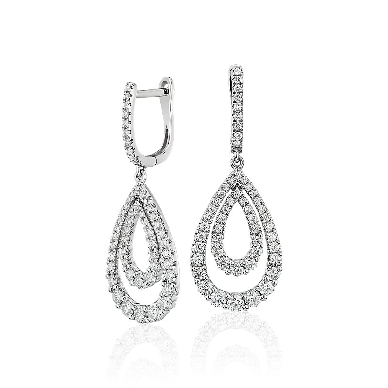 Diamond Open Teardrop Graduated Earrings in 14k White Gold (1 1/4