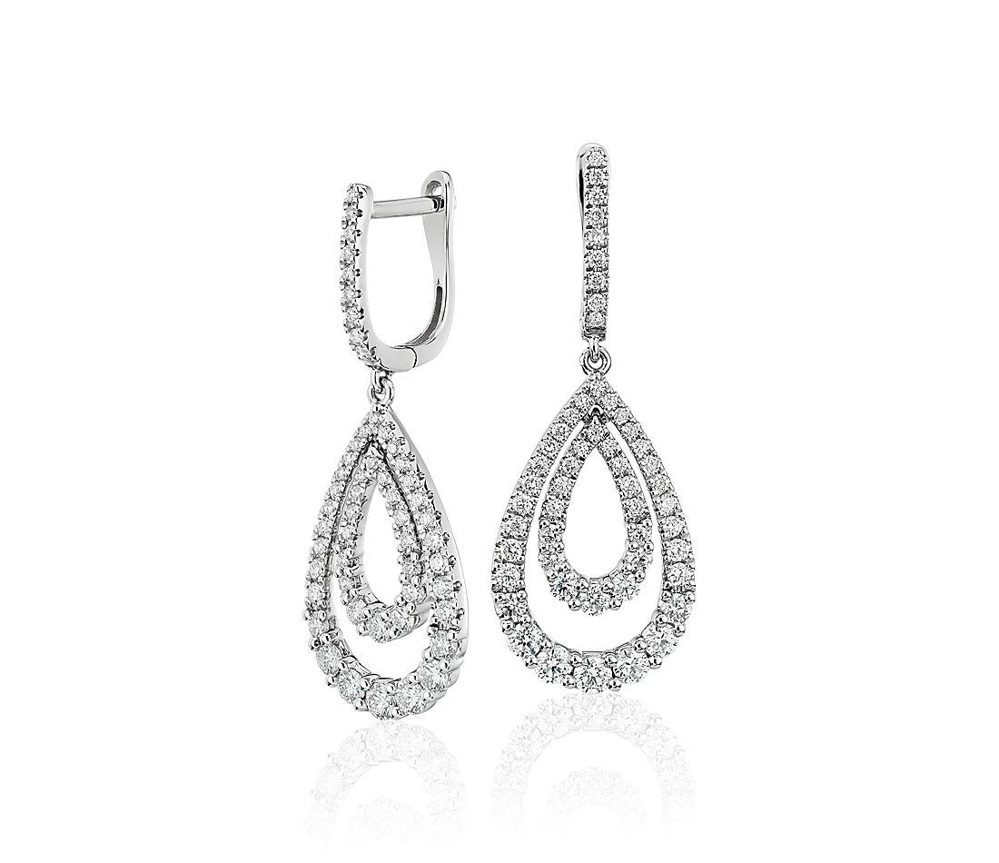 Diamond Open Teardrop Graduated Earrings in 14k White Gold (1 1/4 ct. tw.)