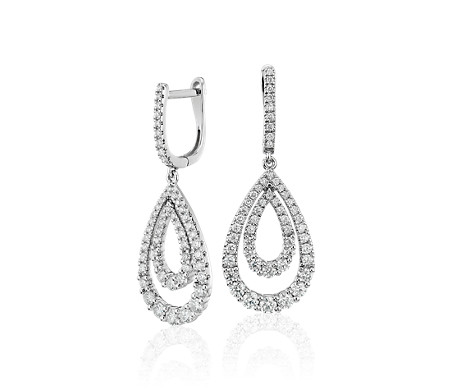 Diamond Open Teardrop Graduated Earrings in 14k White Gold (1.25 ct. tw.)