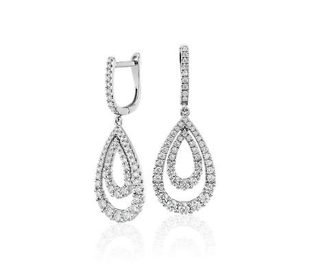 Boucles d'oreilles diamant ornées de larmes ouvertes de deux tailles différentes en or blanc 14carats (1,25carats, poids total)