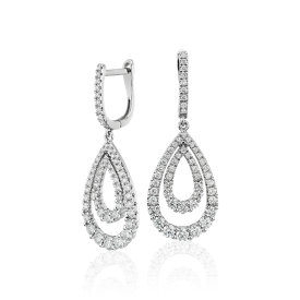 NEW Diamond Open Teardrop Graduated Earrings in 14k White Gold (1.25 ct. tw.)