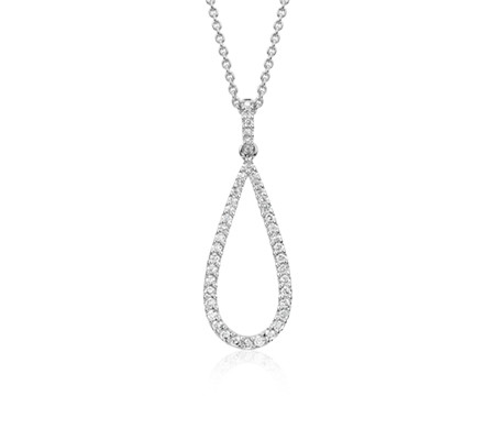 Diamond Open Teardrop Pendant in 14k White Gold (1/3 ct. tw.)
