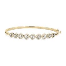 Bracelet jonc diamants ovales avec halo en or jaune 14carats (1 3/8 ct poids total)