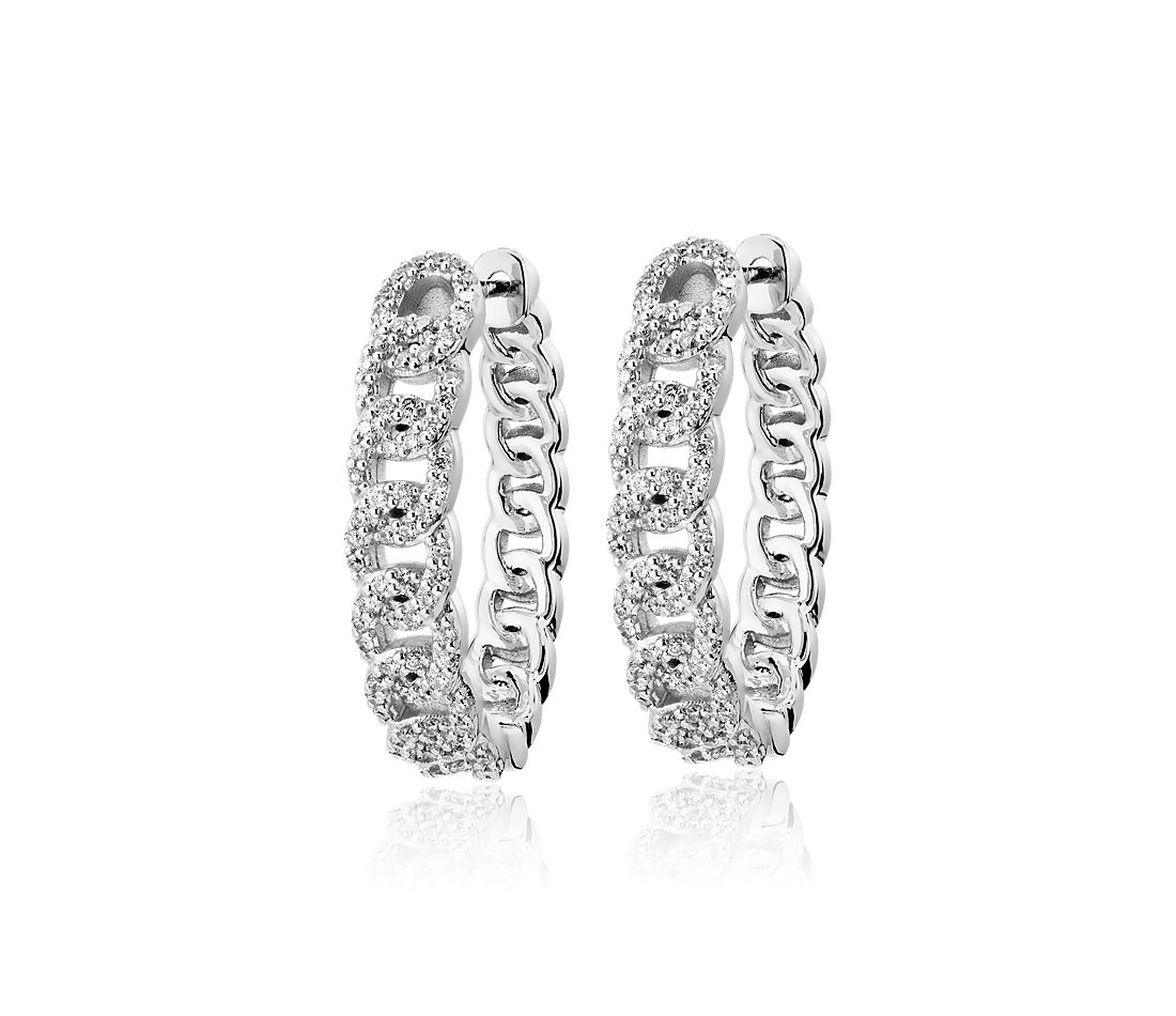 Diamond Oval Link Hoop Earrings in 14k White Gold (1/2 ct. tw.)