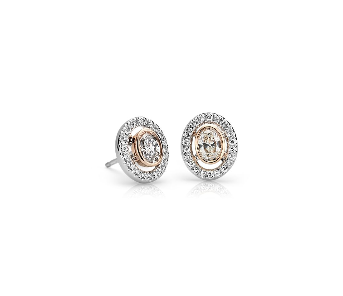 Petite Oval Diamond Halo Earring in 14k White and Rose Gold (0.46 ct. tw.)