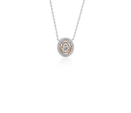 Diamond Oval Petite Halo Pendant in 14k White and Rose Gold (1/4 ct. tw.)