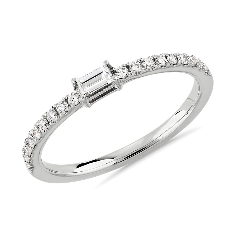 Diamond Pavé and Baguette Stacking Ring in 14k White Gold