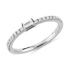 Diamond Pavé and Baguette Stacking Ring in 14k White Gold (1/4 ct. tw.)