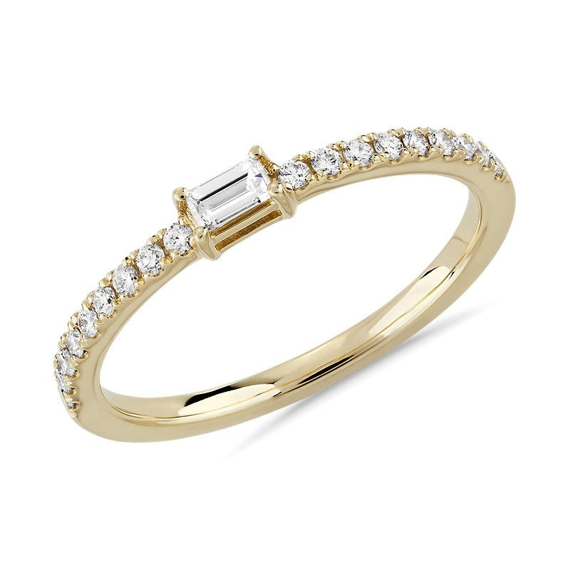 Diamond Pavé and Baguette Stacking Ring in 14k Yellow Gold