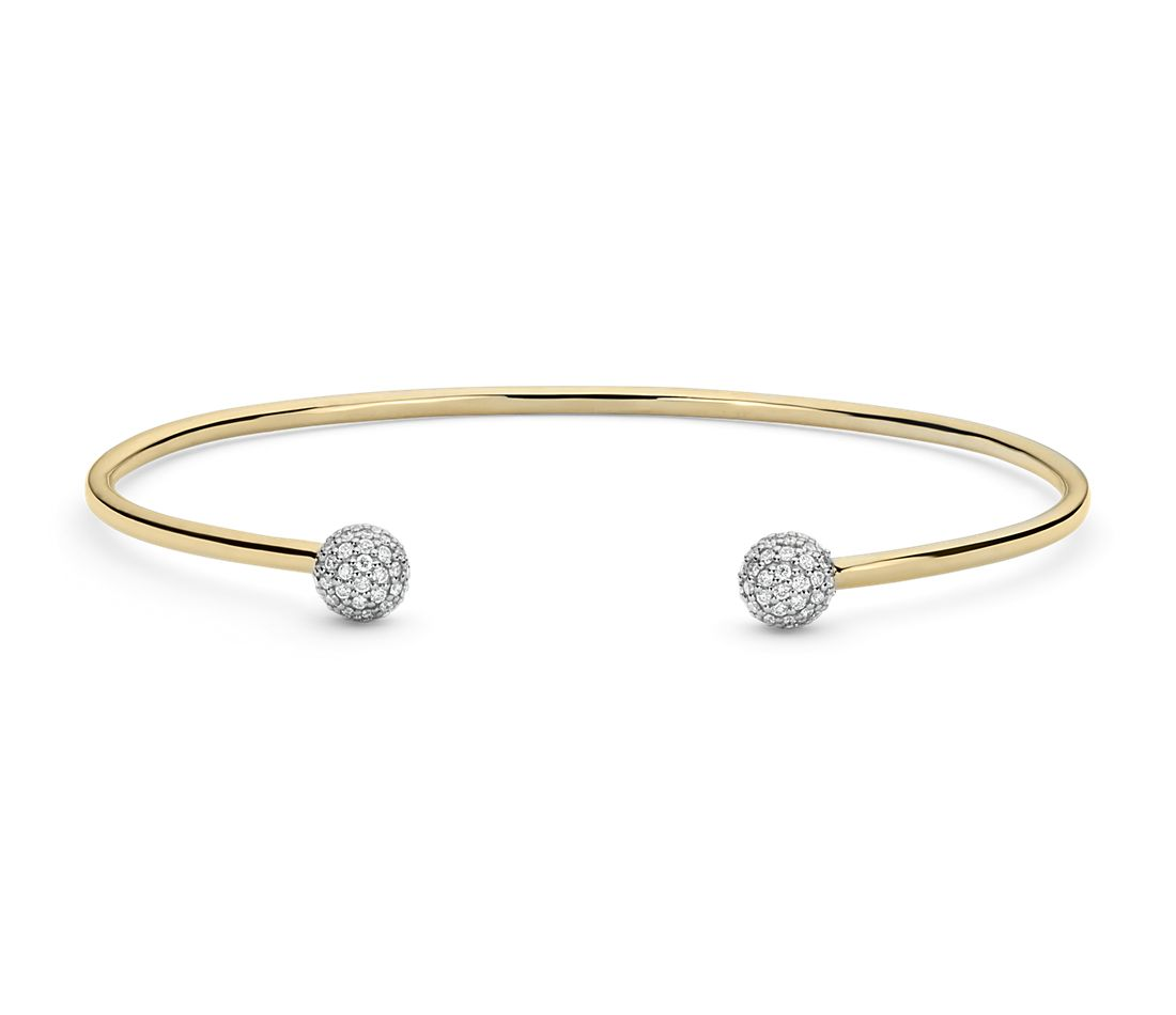 Blue Nile Studio Diamond Pavé Ball Cuff Bracelet In 18k Yellow Gold 0 46 Ct Tw