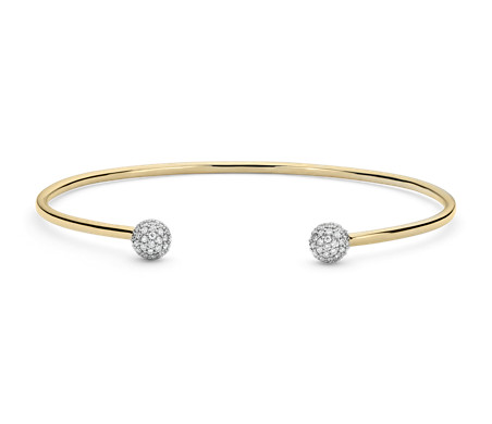 Diamond Pavé Ball Cuff Bracelet in 18k Yellow Gold