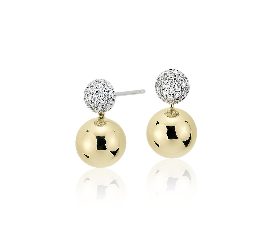 Blue Nile Studio Diamond Pavé Ball Drop Earrings In 18k White Yellow Gold 2 5 Ct Tw