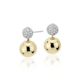 Blue Nile Studio Diamond Pavé Ball Drop Earrings in 18k White & Yellow Gold (2/5 ct. tw.)