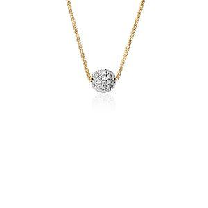 Colgante con esfera de pavé de diamantes Studio de Blue Nile en oro amarillo de 18k (2/5 qt. total)