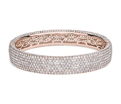 Diamond Pavé Bangle Bracelet in 18k Rose Gold